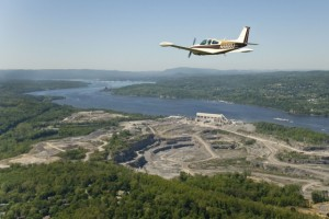 Aerial patrol  to monitor a quarry on the Hudson River