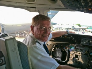 Hal Biesteck in cockpit of DC-10